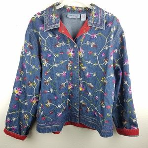 JANE ASHLEY Floral Embroidered Denim Button Jacket